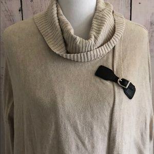 Sweaters - Tan Poncho Wrap Sweater Cross Over Asymmetrical